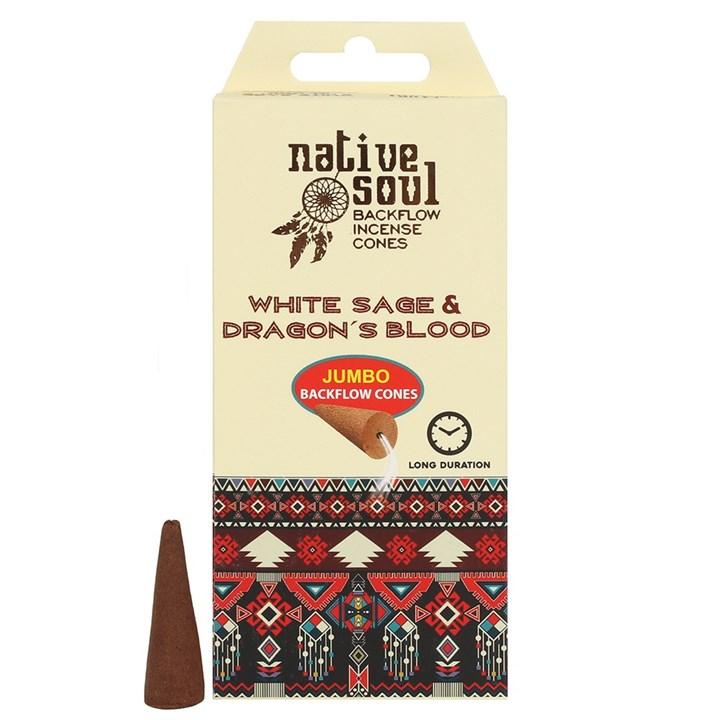 Vit Salvia & Dragons Blood Backflow Rökelsekoner (Native Soul)