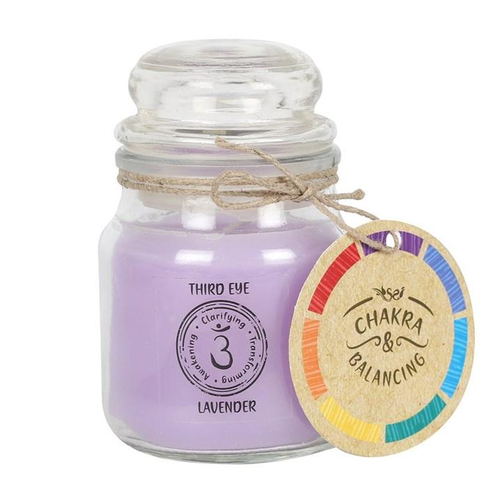 Aromaljus i glas burk med doft av Lavendel (Det tredje ögat)