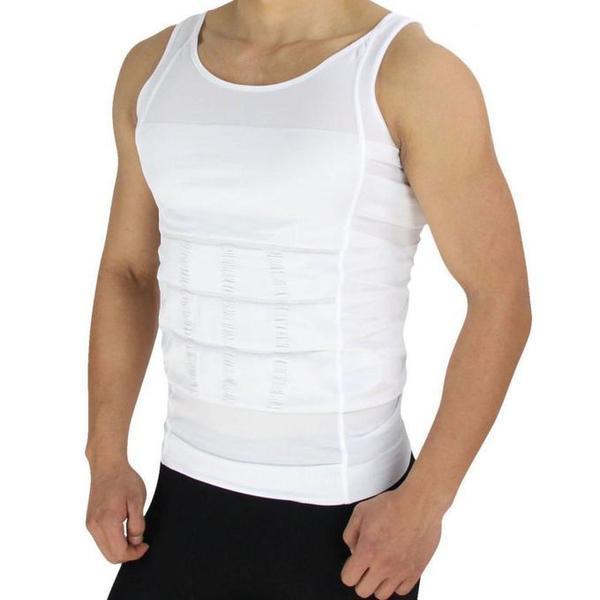 Linne Slim Body Shaper för män-VIT (Storlek: L)