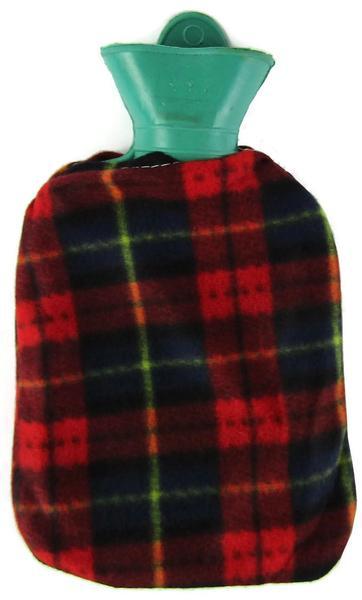 Värmeflaska fleece rödrutig 1 l