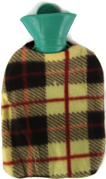 Värmeflaska fleece brunrutig 1 l