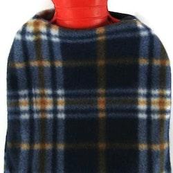 Värmeflaska fleece blårutig 1 l