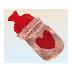 Värmeflaska stickad med hjärta, mini (Färg: Vit)