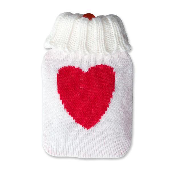 Värmeflaska stickad med hjärta, mini (Färg: Rosa)