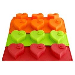Kakform,Silikonkakform Hjärtan 6 st (Färg: Orange)