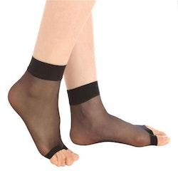 Ankel Sandal Nylonstrumpor 6 Par: Svart