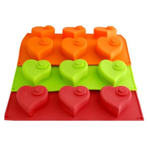 Kakform,Silikonkakform Hjärtan 6 st (Färg: Rosa)