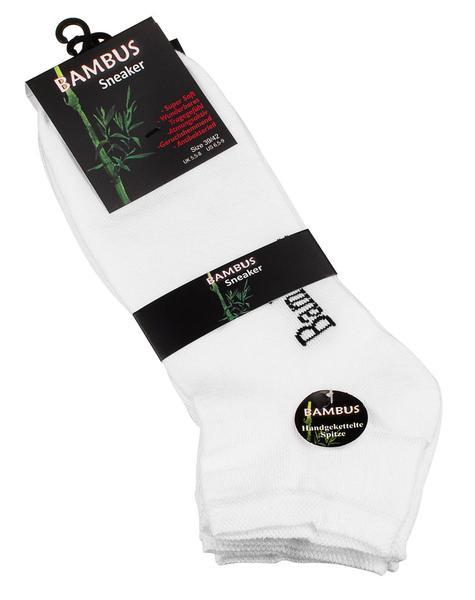 Bambustrumpor sneakers vita 3-pack (Storlek: 35-38)