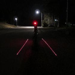 Cykellampa baklampa med laser