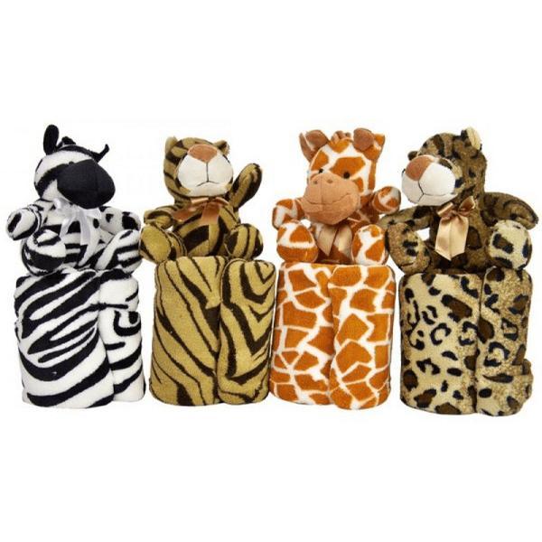 Filt supermjuk fleece för barn med mjukt gosedjur.