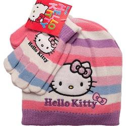 Hello Kitty mössa och vantar rosa