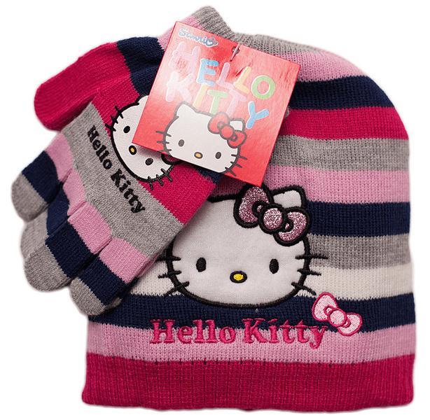 Hello Kitty mössa och vantar lila