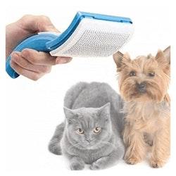 Hund- och kattborste med automatiskt hårborttagare