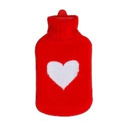 Värmeflaska stickad med hjärta 1Liter