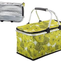 Picknickkorg kylväska 30L fällbar Campingkorg. Grön med blommor