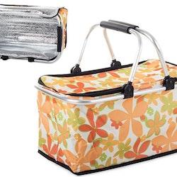 Picknickkorg kylväska 30L fällbar Campingkorg. Orange med blommor