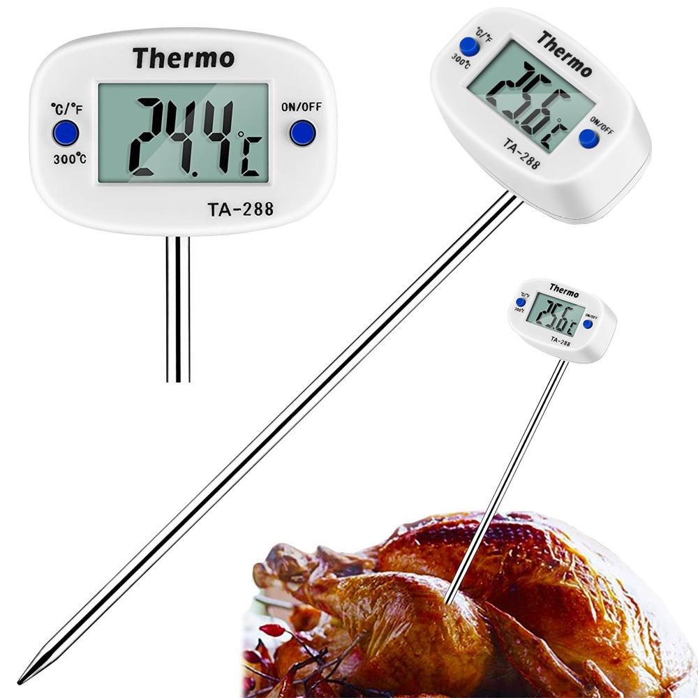 LCD digital kökstermometer för kött och vätska med sond