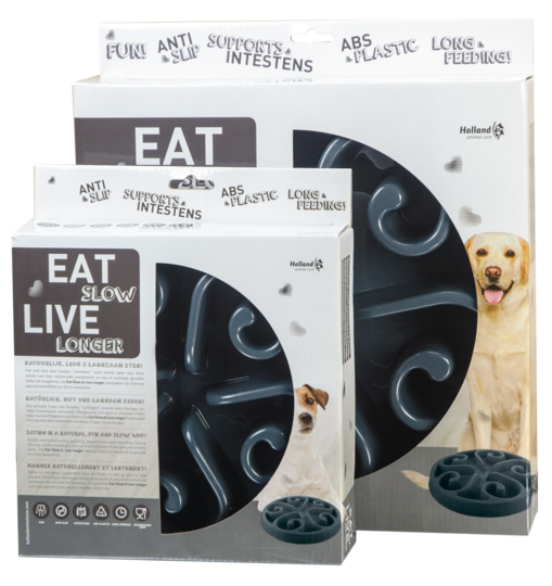 Hundmatskål Eat Slow Live Longer Original Grå