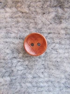 Träknapp Hjärta - 15 mm