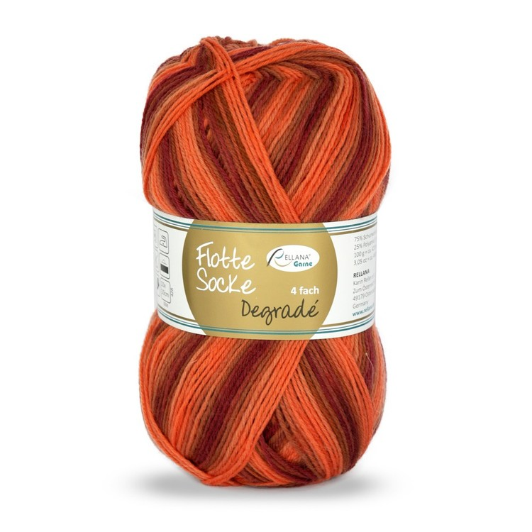 Rellana Flotte Socke Degradé, orange garnnystan fg 1464