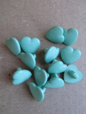 Mintgrön knapp Hjärta - 10 mm