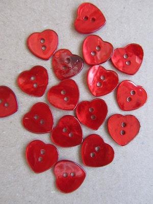 Röd pärlemorknapp Hjärta - 24 mm