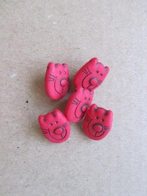 Röd knapp Katt - 12 mm