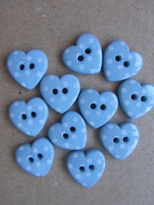 Ljusblå knapp Hjärta med vita prickar - 24 mm