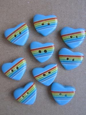 Blå knapp Hjärta med regnbågsfärger - 20 mm
