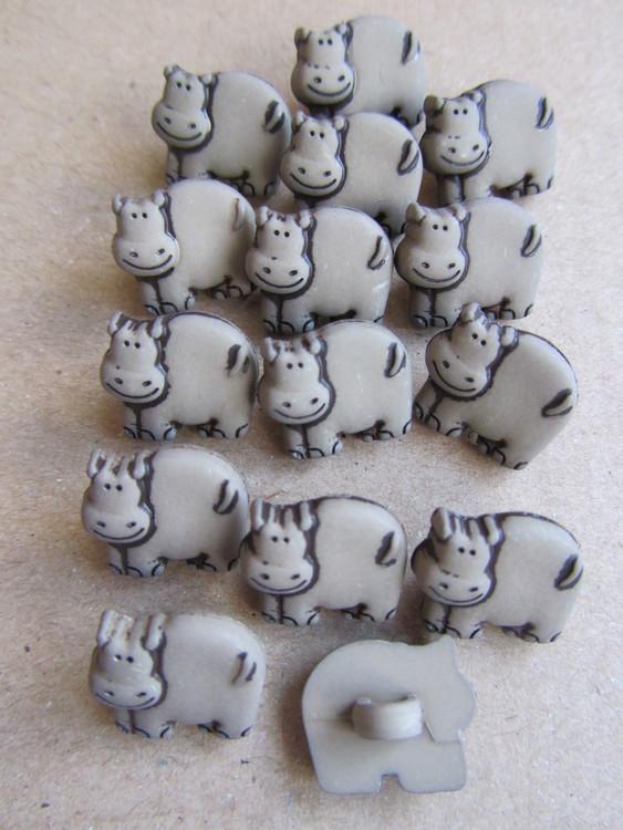 Gråbrun knapp med Flodhäst - 14 mm