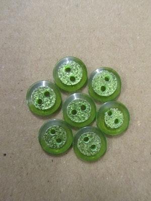 Grön knapp med glitter - 12 mm