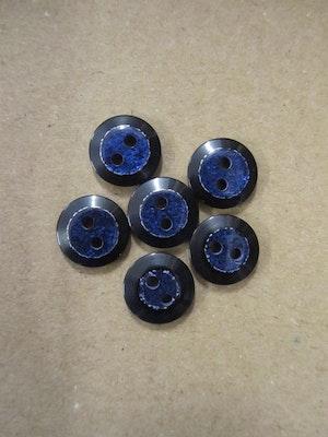 Blå knapp med glitter - 12 mm