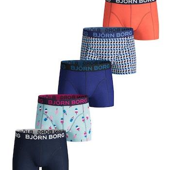 5-Pack Gelato & Geo Tile Boys Shorts Iced Aqua