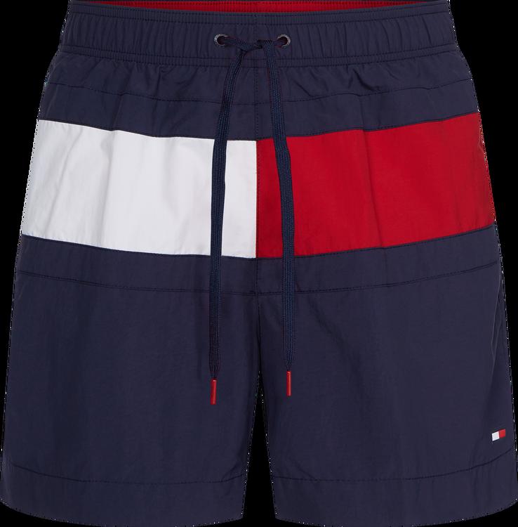 Colour Blocked Medium Drawstring Swim Shorts, Navy Blazer