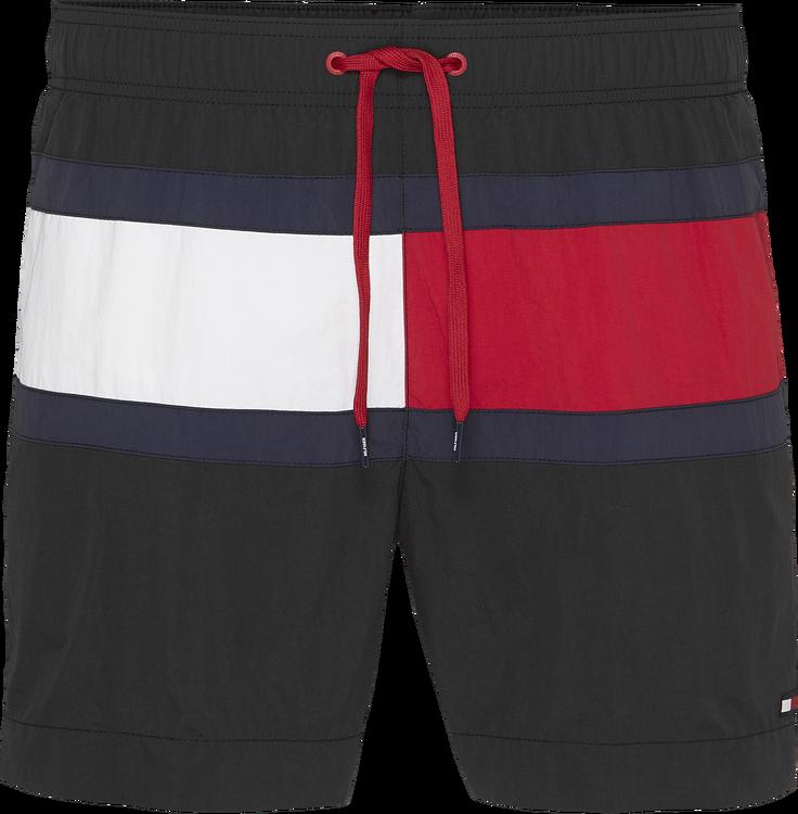 Colour Blocked Medium Drawstring Swim Shorts, Black