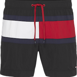 Colour Blocked Medium Drawstring Swim Shorts, Black