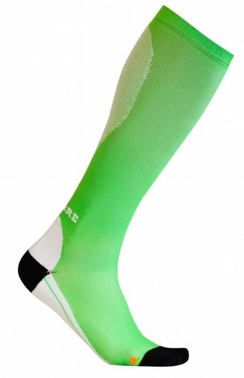 Sportkompressionsstrumpa Running – Green/White