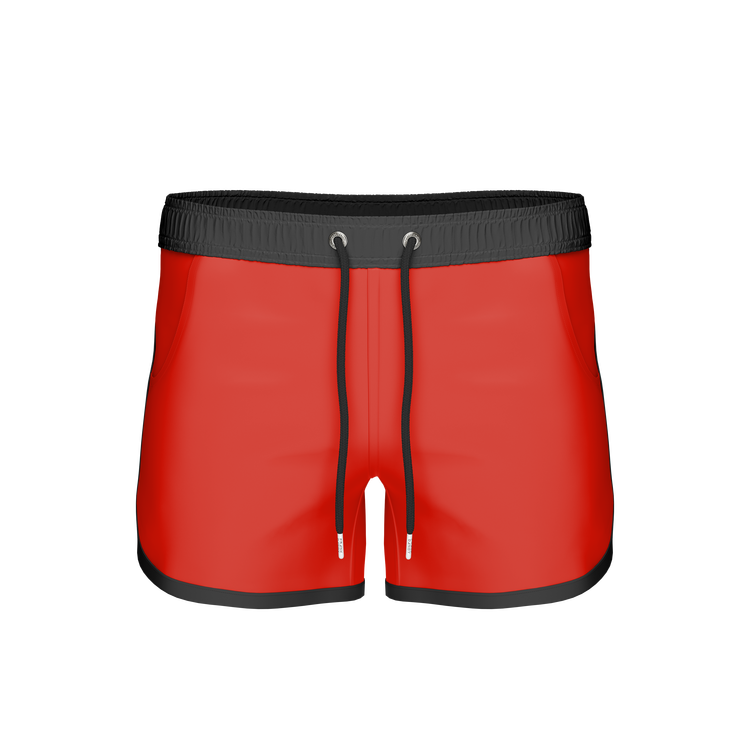 St Paul – Long Bermuda Shorts, Red/Black