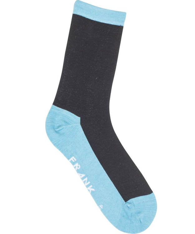 Bamboo Contrast Crew Sock, Clear Blue