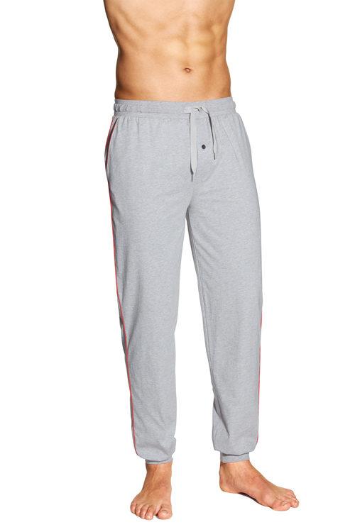 Poplin Check Woven Pyjamas Pants, Grey Melange