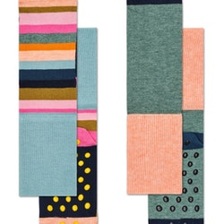 Happy Socks 2-Pack Antislip, Stripe Grey