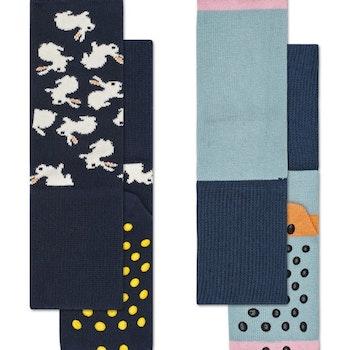 2-Pack Bunny Anti-Slip Socks Black