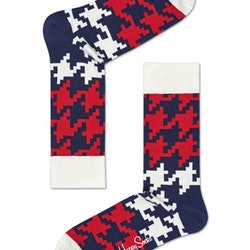 Dogtooth Sock, Blue/Red/White