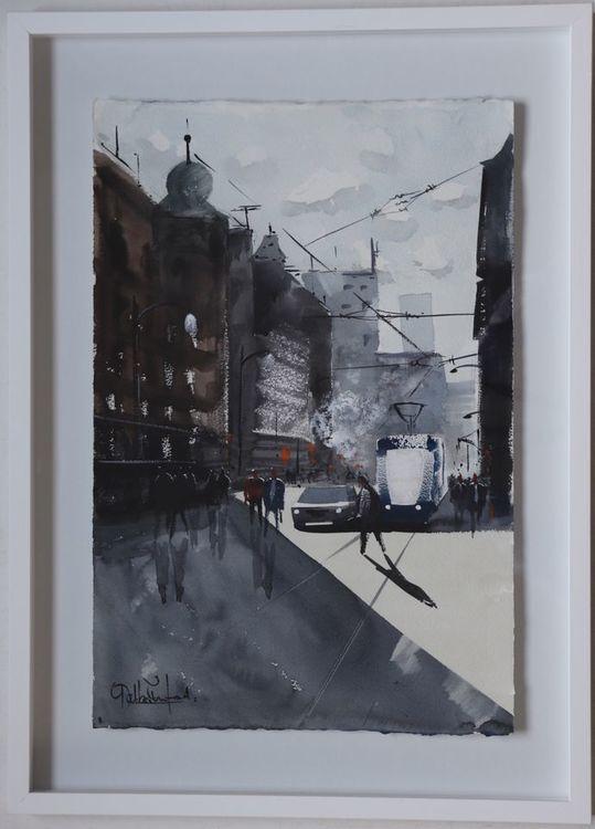 Skånegatan , Göteborg Akvarell