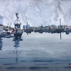 Pir 4 , Eriksberg, Göteborg Akvarell
