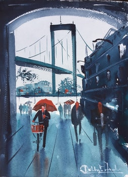 Original akvarell , Sockerbruket, Älsborgsbron , Gör en göteborgare glad.
