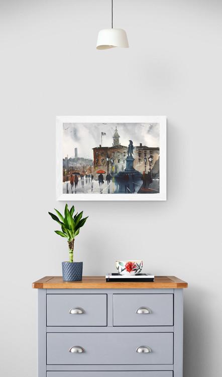 En regnig dag på Gustav Adolfs torg - Original Akvarell