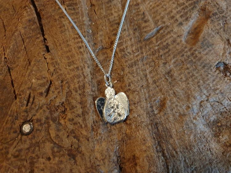 Silverhalsband liten ängel rund