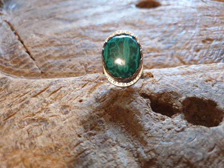 Silverring tuff grön sten