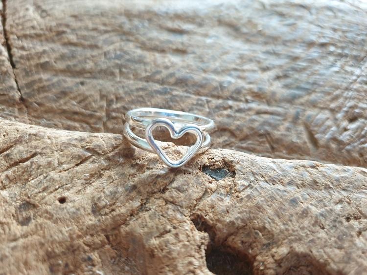 Silverring med hjärta